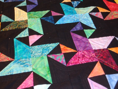 quilting completed light and dark