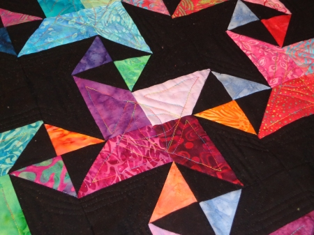 quilting completed light block highlight