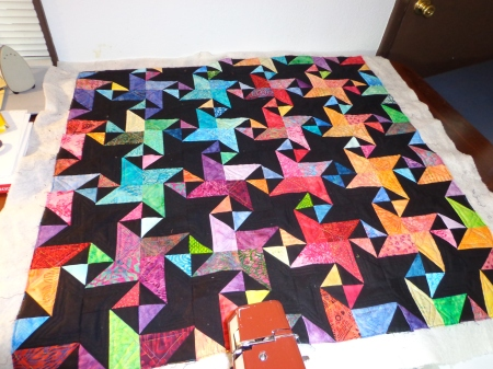 quilting completed on star struck whole quilt