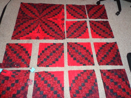 one chunked section of kings puzzle quilt