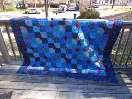 ten minute teal cathedral quilted