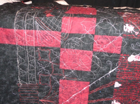 back of quilt after quilting corner
