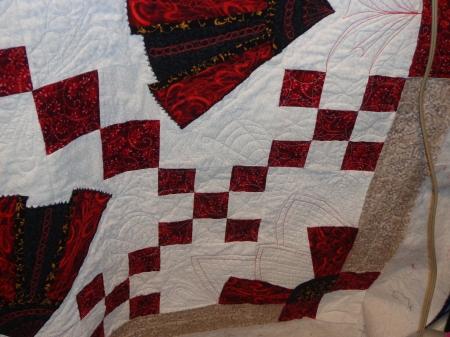 quilting close up of corner of quilt
