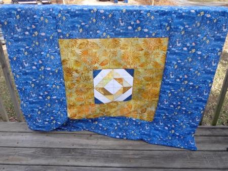 blue sunshine quilt back pieced