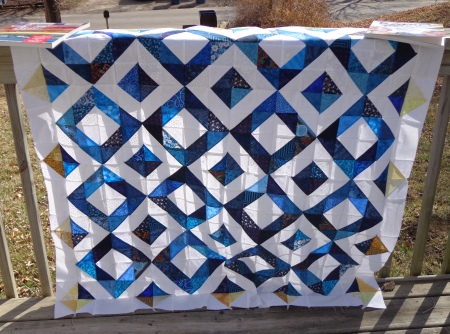 blue sunshine quilt top complete in sunshine