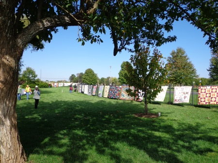 large quilts at outside quilt show 2