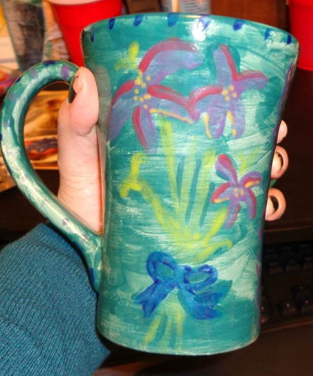 glazed mug flower side