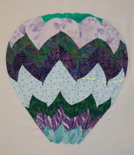 hot air balloon glued down stitch line