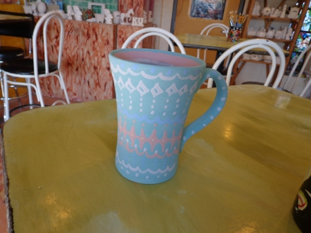 painted mug with borders