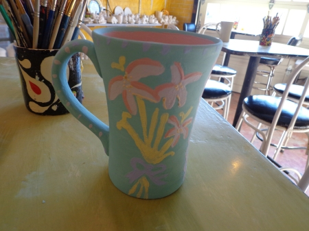 painted mug with flower stamp