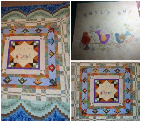 dianes finished quilt center and my portion