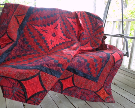 Royal Red styled on porch swing