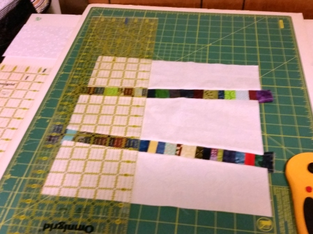 preparing to make the 3rd and fourth cut hashtag blocks