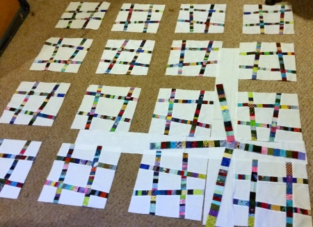 string sashing idea with hashtag blocks