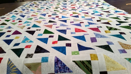 shoo fly top as a table topper scrap quilt
